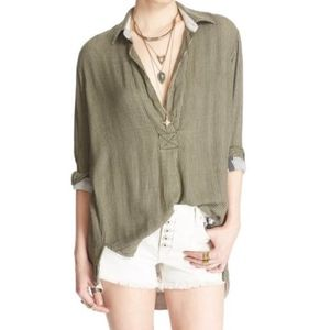 Green Stripped Free People Blouse